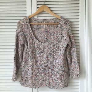 Free People Multicolored Knit Sweater 3/4 Sleeve